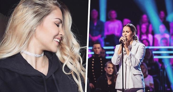 En selfie från sidan på Ambér Boss och till höger står hon på scenen och sjunger under Idol 2018.