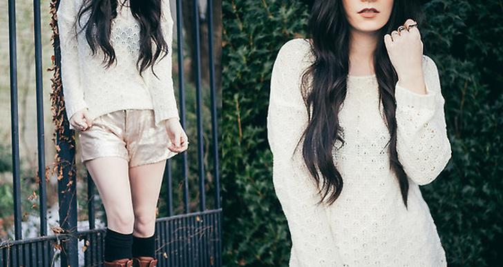 Vitt plus blekt guld, Rachel-Marie från New York inspirerar med sin outfit. Mer av henne på http://lookbook.nu/jaglever
