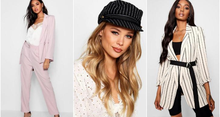 Tre tjejer klädda i mode, hatt