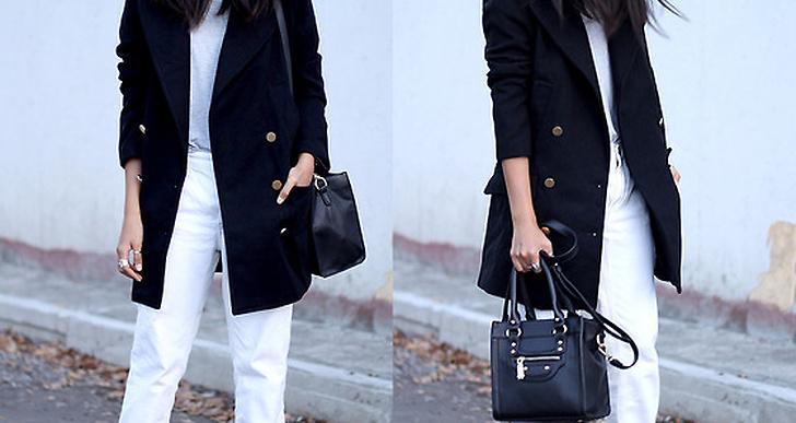 Lätta upp outfiten med vita byxor till den svarta kappan. Toppa med nätta pumps som Genesis från Mexico. Mer från henne här http://lookbook.nu/geniesl