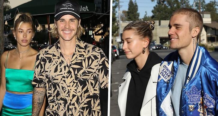 Bilden är ett montage med två bilder på Justin Bieber tillsammans med flickvännen Hailey Baldwin.