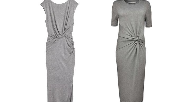 Draperad klänning rån H&M, ca 400 kr VS Draperad klänning från Tiger Of Sweden, ca 1 700 kr.