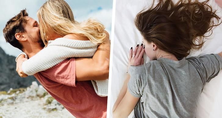 Ett par som kysser varandra, en tjej som sover