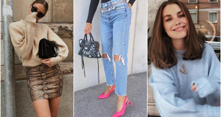 Tjej i kjol, rosa klackar och jeans, tjej i stickad tröja
