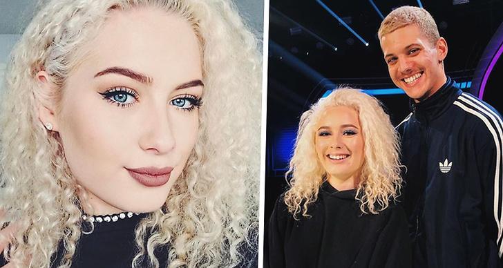 Bilden är ett montage som består av en bild på Wiktoria Johansson och en bild på henne tillsammans med Idoldeltagaren William Strid.