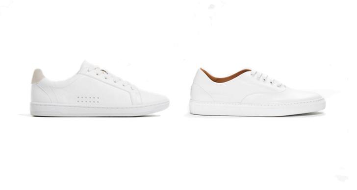 Vita sneakers från Zara, ca 300 kr VS Vita sneakers från & Other Stories, ca 950 kr.