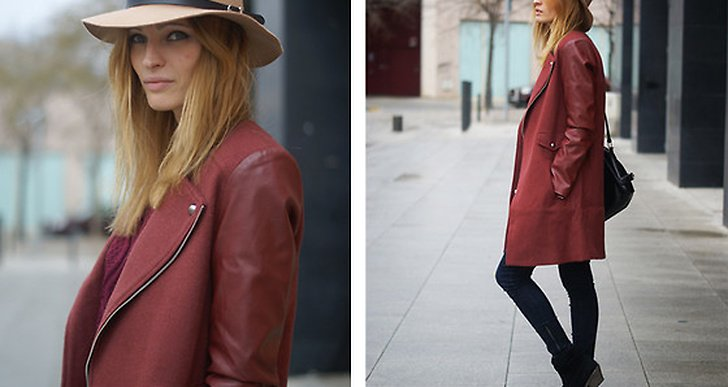 Vi älskar Estefania från Spaniens kappa med skinndetaljer från Sheinside! http://lookbook.nu/vintageprocess