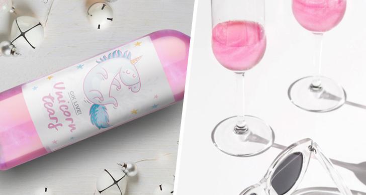 Två bilder på unicorn tears vin.