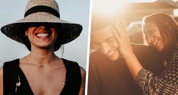 Till vänster en tjej som skrattar, till höger ett par som skrattar