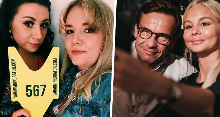 Ida och Sofie från ångestpodden håller upp en kölapp och Ulf Kristersson tar en selfie med Alexandra Bring.
