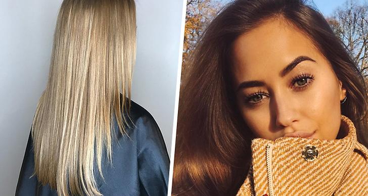Till vänster är en bild på Kenza Zouiten Subosics blonda frisyr och till bilden på höger sida så ser man Kenza i hennes bruna hår.