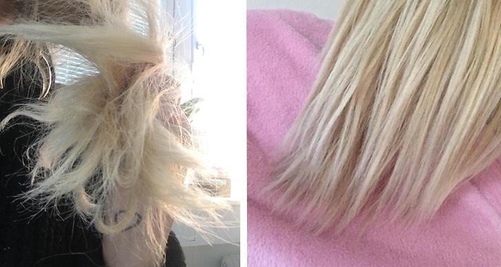 Hårblekning till blont hår.
