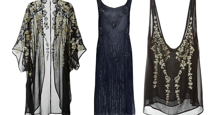 Transparent och broderat ser vi mycket utav i höst. Kimono 699kr, klänning 499kr och broderat linne 349kr