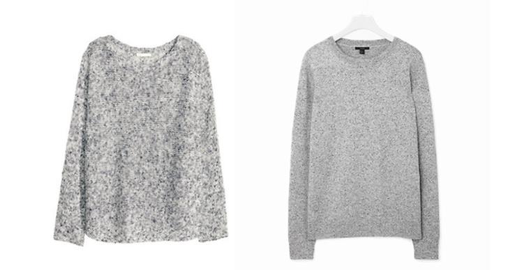 Melerad tröja från H&M, ca 300 kr VS Melerad tröja från COS, ca 550 kr.