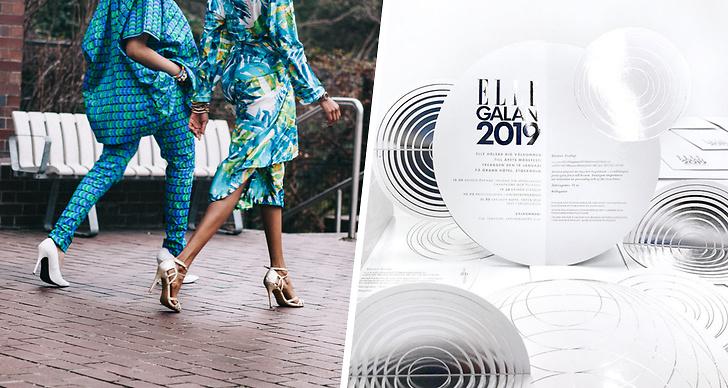 En bild på två tjejer i klackar och inbjudan till Elle-galan 2019.