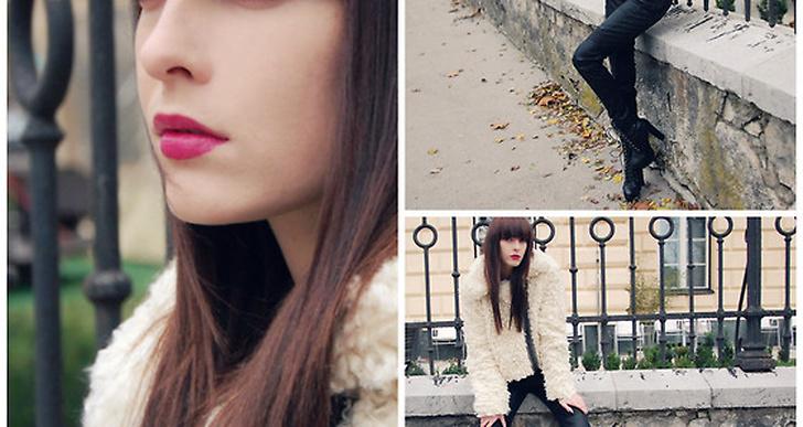 Carolina, stylist från U.K. matchar sin cremevita fuskpäls snyggt med skinnbyxor och rosa läppar. http://lookbook.nu/xandervintage