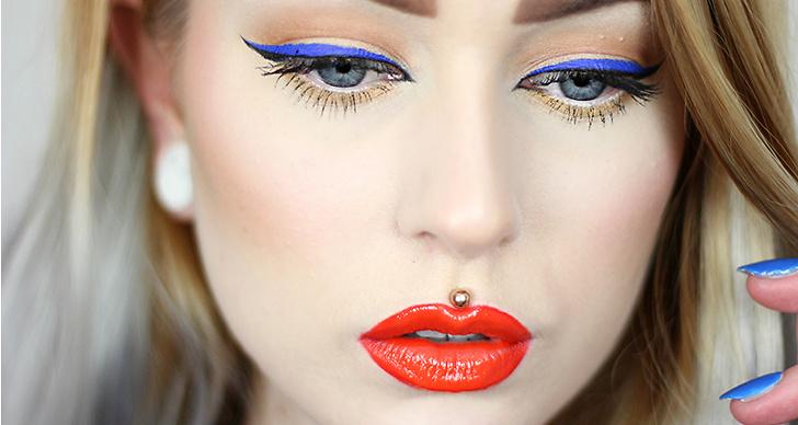 En speciellt snygg läppfärg på blåögda är den röda med en hint av orange i.