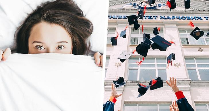 En tjej som ligger i en säng, människor som tar examen