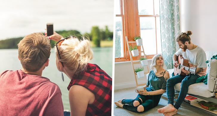 Bilden är ett montage. På bilden till vänster tar ett par en selfie, till höger spelar en kille på gitarren.