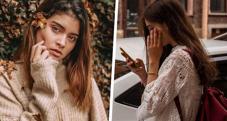 En tjej som kollar in i kameran, en tjej som håller på med sin mobil