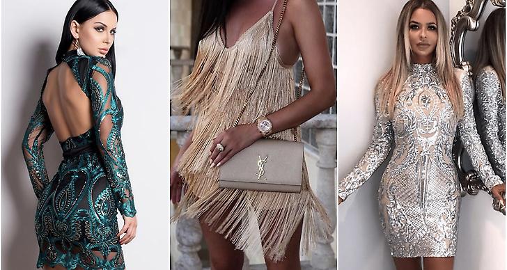Tjej med grön klänning, väska YSL, fransar och glitter.