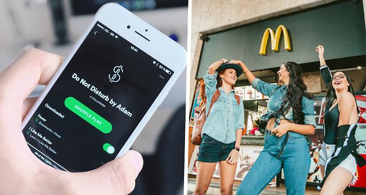 Till höger är det en bild på en spotifylista, till vänster är det tre tjejer som står utanför McDonalds.