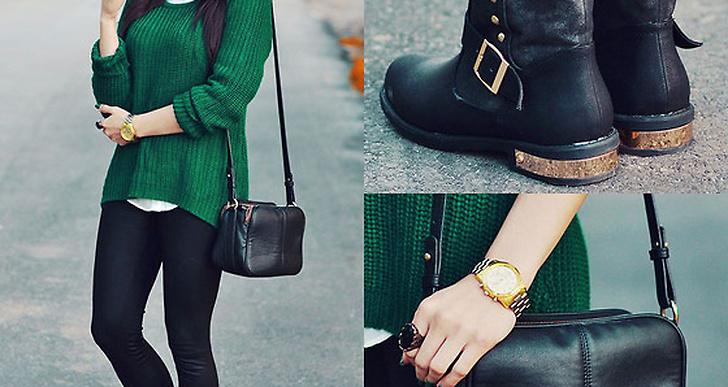 Svart tillsammans med en stark färg och gulddetaljer på det. Look från Pam i polen, http://lookbook.nu/disturbed_style