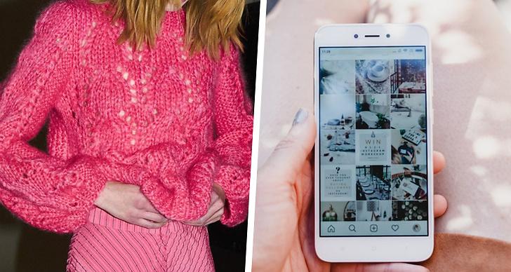 Till vänster en tjej i en tröja och kjol från Ganni, till höger någon som är inne på Instagram på sin iPhone.