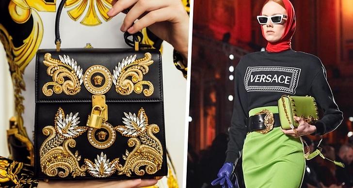 Versace väska på bilden till vänster och Versaces modevisning på bilden till höger.
