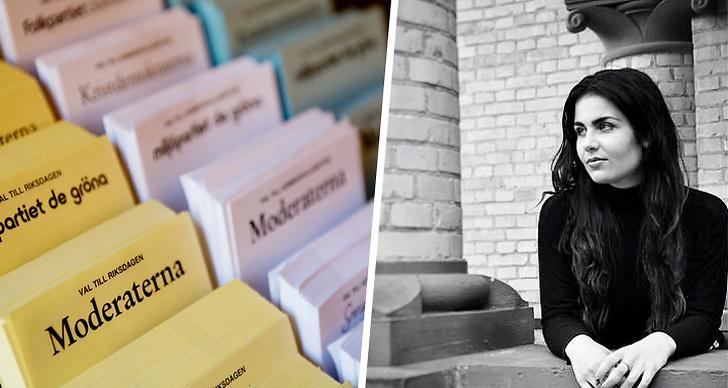Till vänster visas en bild på valblanketter och till höger är det en bild på Elin Nilsson som driver bloggen Valkollen