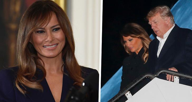 Ett bildmontage på Melania Trump till vänster. Till höger är en bild på Donald Trump och Melania Tillsammans.