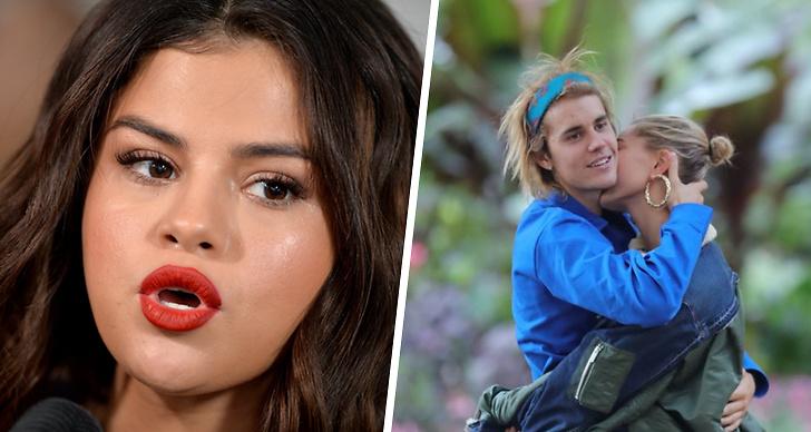 Bilden är ett montage med bilder på Selena Gomez, Justin Bieber och Hailey Bieber.
